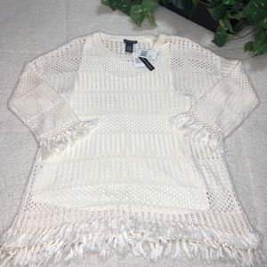 Chelsea & Theodore Fringed Long Sleeve Sweater L